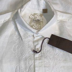 Medium Tasso Elba Shirt White Linen Embroidery